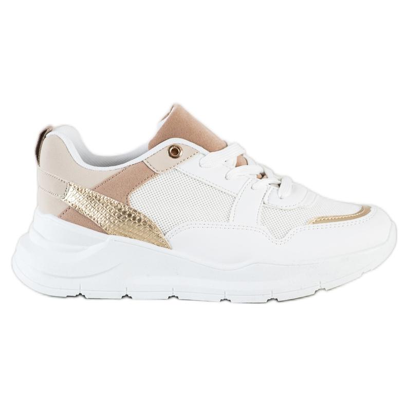 SHELOVET Stylowe Sneakersy Z Siateczką białe