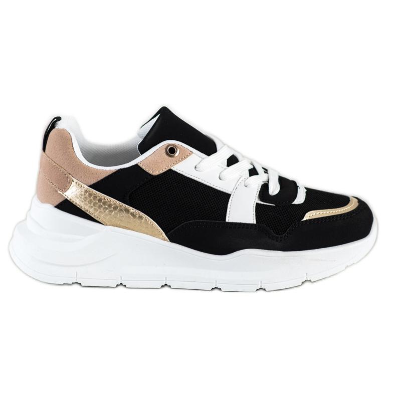 SHELOVET Stylowe Sneakersy Z Siateczką czarne