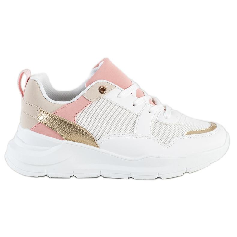 SHELOVET Stylowe Sneakersy Z Siateczką białe wielokolorowe