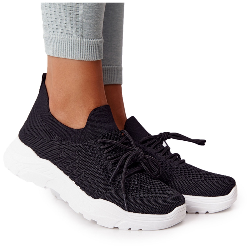 PS1 Damskie Sportowe Buty Sneakersy Czarne Ruler białe