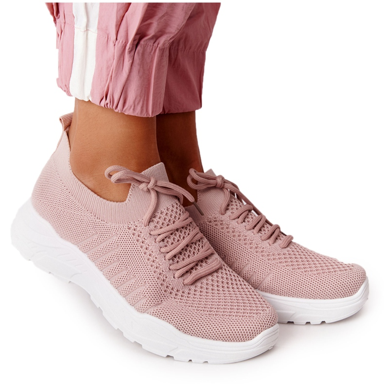 PS1 Damskie Sportowe Buty Sneakersy Różowe Ruler białe