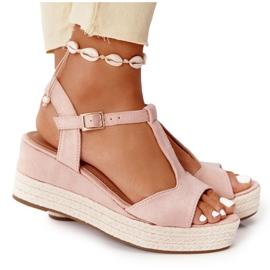 PG1 Sandały Na Koturnie Z Plecionką Różowe Graciosa brązowe