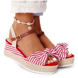PG1 Sandały Na Koturnie W Stylu Marynarskim Czerwone La Isla Bonita białe wielokolorowe
