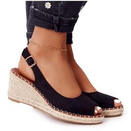 PG1 Sandały Na Koturnie Z Plecionką Czarne Las Palomas beżowy