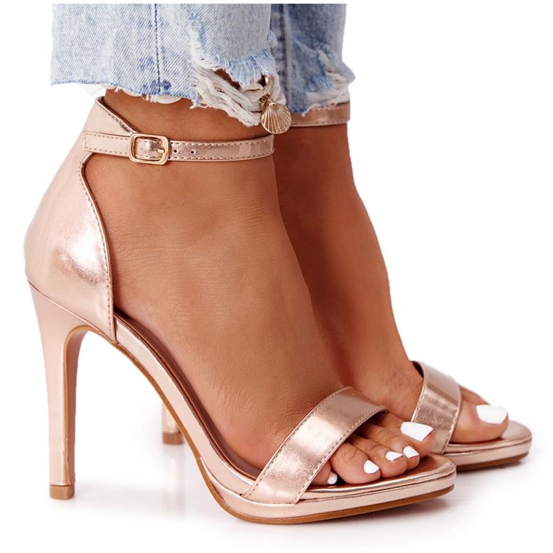 PG1 Eleganckie Sandały Na Szpilce Różowe Złoto Glamour złoty