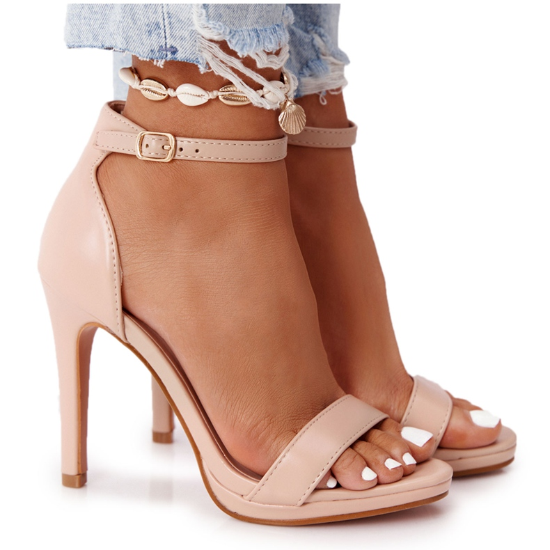 PG1 Eleganckie Sandały Na Szpilce Nude Glamour różowe