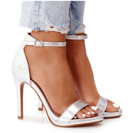 PG1 Eleganckie Sandały Na Szpilce Srebrne Glamour srebrny