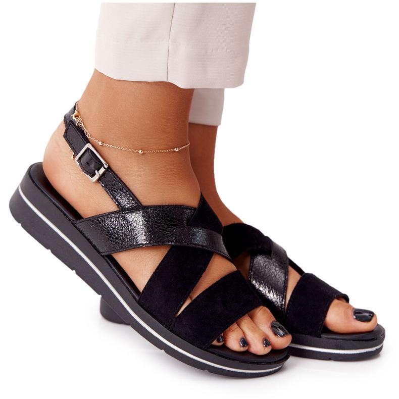 Zamszowe Sandały Sergio Leone SK039 Czarno-Srebrne czarne
