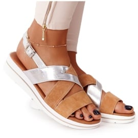 Zamszowe Sandały Sergio Leone SK039 Beżowo-Srebrne beżowy srebrny