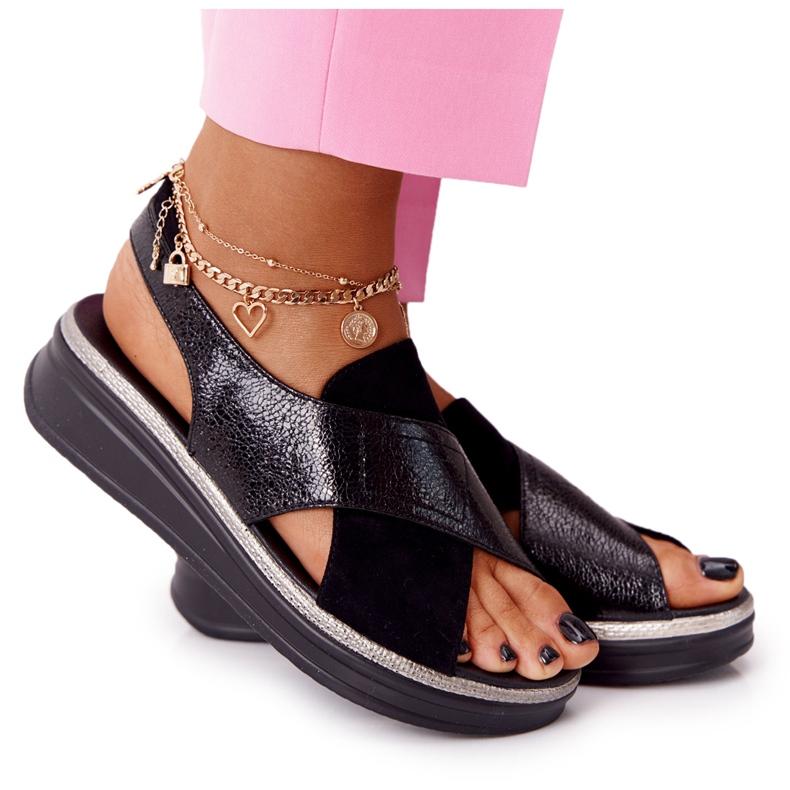 Wsuwane Sandały Na Platformie Sergio Leone SK029 Czarne