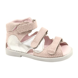 Sandałki wysokie profilaktyczne Mazurek 291 pink-silver różowe srebrny