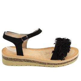 Sandałki z frędzelkami czarne JN315 Black