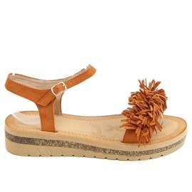 Sandałki z frędzelkami camel JN315 Camel brązowe