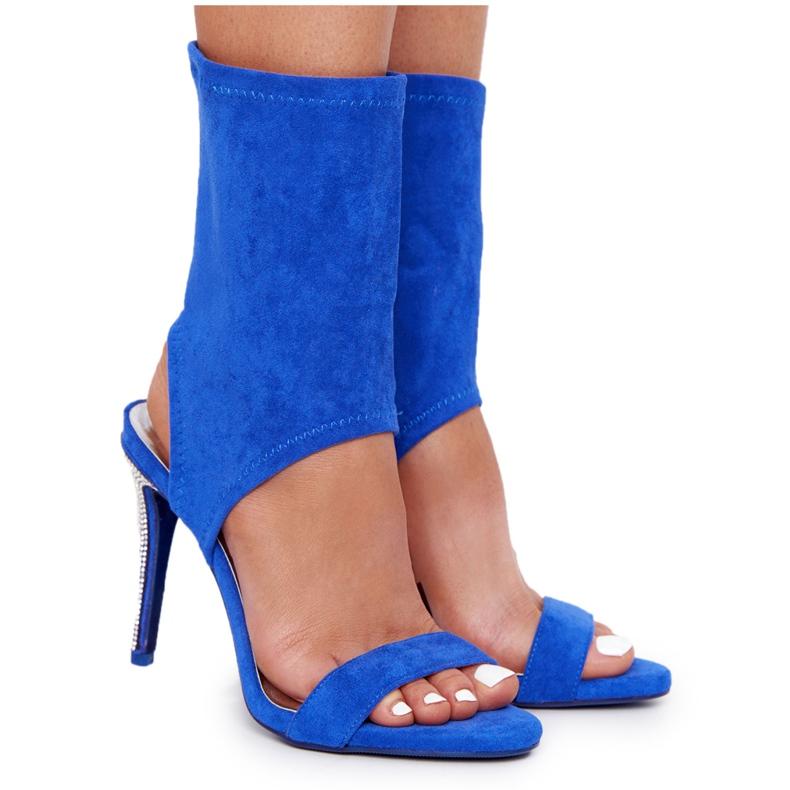 Sandały Na Szpilce Z Cyrkoniami Lu Boo Niebieskie srebrny