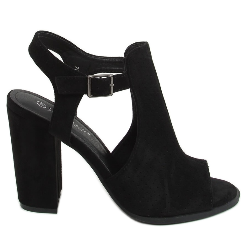 Sandałki na obcasie czarne 2B7L6897-3 Black