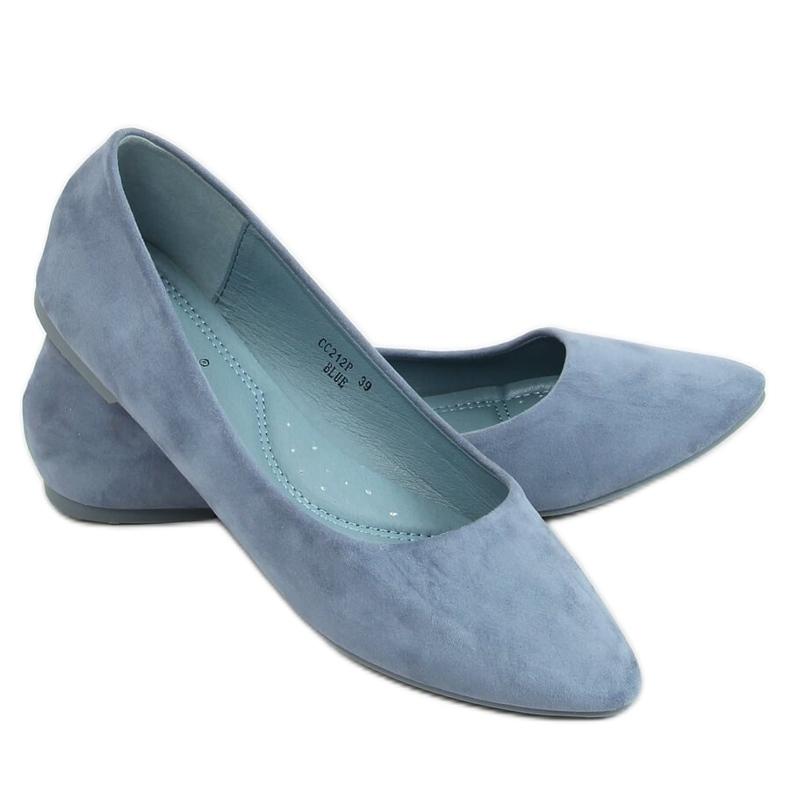 Baleriny gładkie zamszowe niebieskie CC212P Blue
