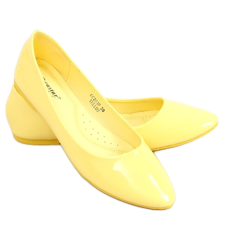 Baleriny gładkie lakierowane żółte CC201 Yellow
