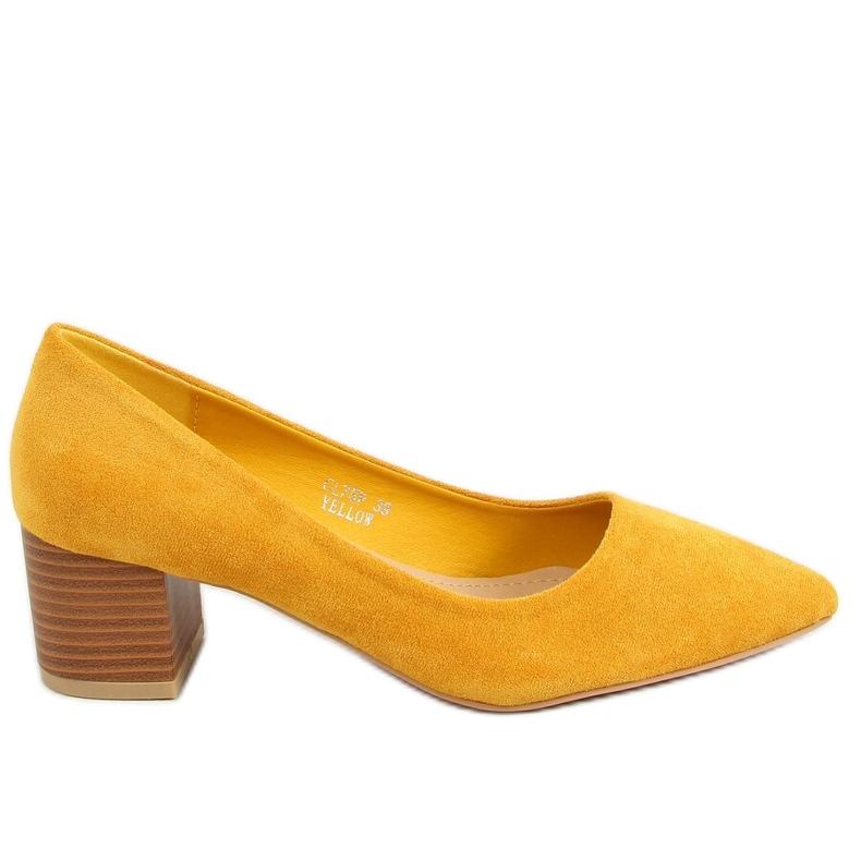 Czółenka na drewnianym obcasie miodowe CL75P Yellow żółte