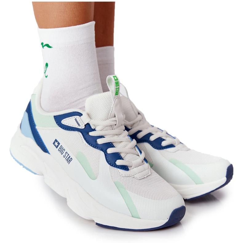 Damskie Sportowe Buty Memory Foam Big Star HH274810 Białe niebieskie zielone