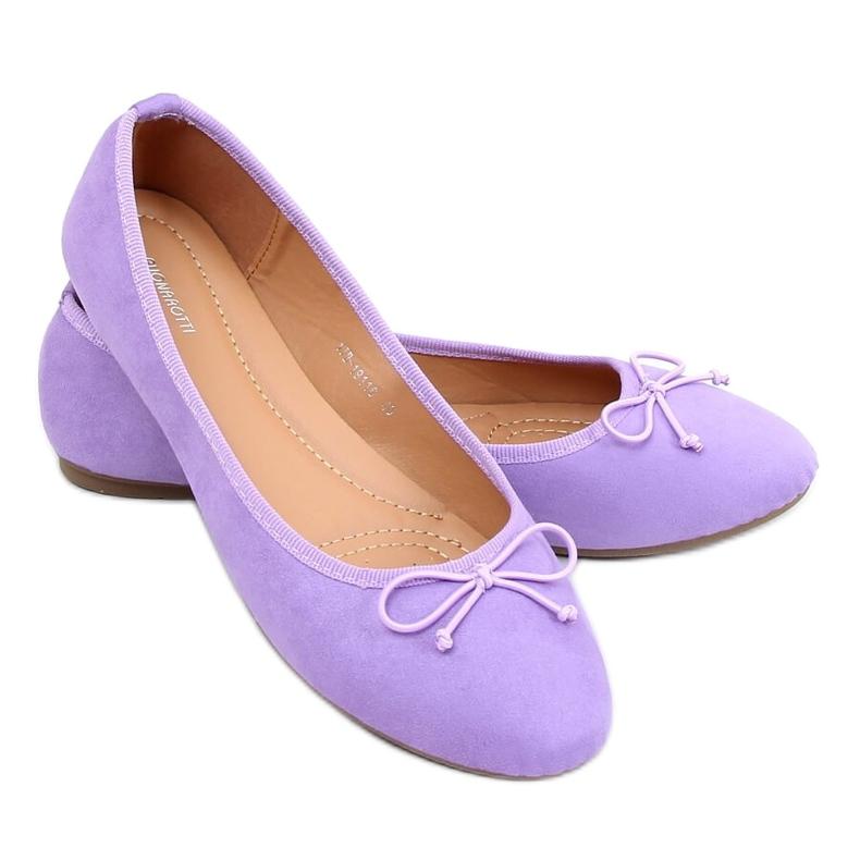 Baleriny damskie zamszowe fioletowe 1JB-19116 Purple