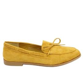 Mokasyny damskie klasyczne musztardowe 3394 Yellow żółte