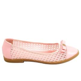 Baleriny ażurowe różowe 1378 Pink