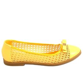 Baleriny ażurowe żółte 1378 Yellow