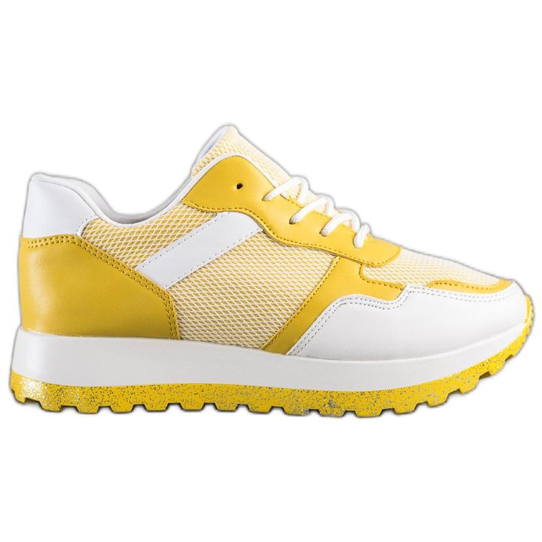 Bestelle Sneakersy Z Brokatową Platformą białe żółte