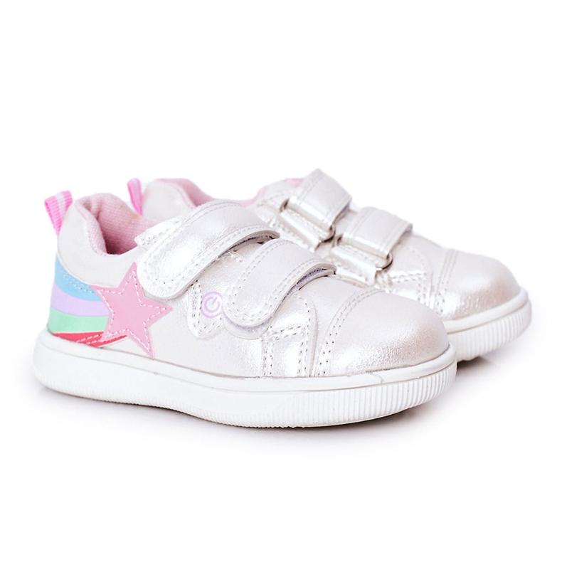 PE1 Dziecięce Eko-skóra Sportowe Buty Z Tęczą Białe Jasmine wielokolorowe