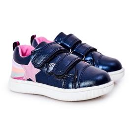 PE1 Dziecięce Eko-skóra Sportowe Buty Z Tęczą Granatowe Jasmine wielokolorowe