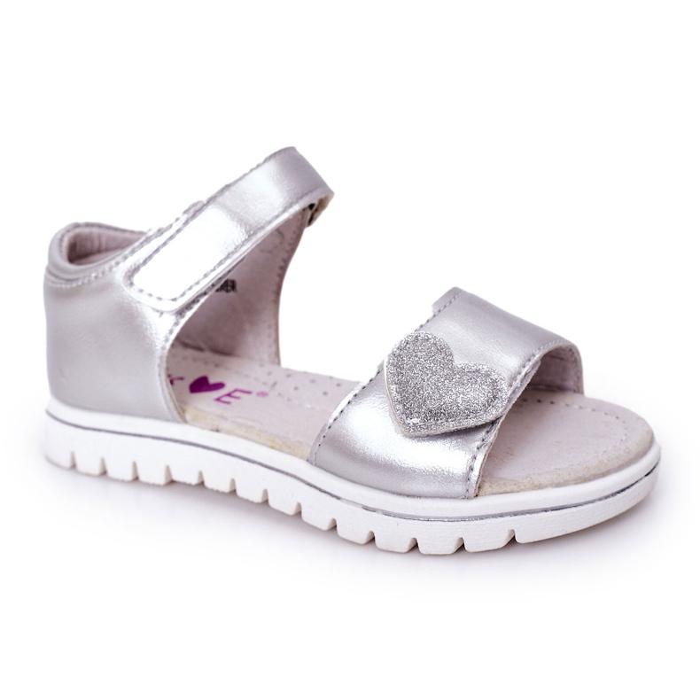 PE1 Dziecięce Sandałki Na Rzepy Srebrne Sweetheart srebrny