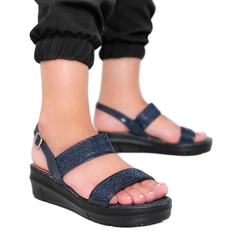 Granatowe sandały na koturnie Sweet Rasp