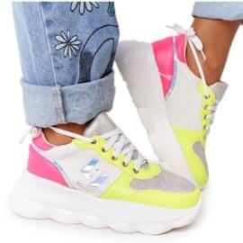Damskie Sportowe Buty Na Platformie Lu Boo Białe wielokolorowe
