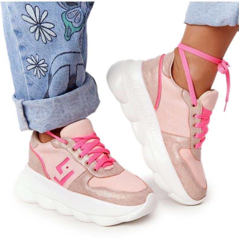 Damskie Sportowe Buty Na Platformie Lu Boo Różowe wielokolorowe