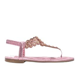 Różowe błyszczące sandały japonki Barbados