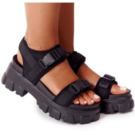 PS1 Sandały Na Masywnej Platformie Czarne Fly High