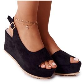 Zamszowe Sandały Na Obcasie Sergio Leone SK807 Czarne