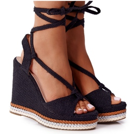 Wiązane Sandały Na Koturnie Czarne Hawaii