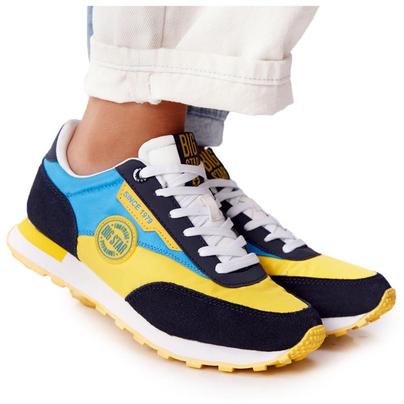 Damskie Sportowe Buty Memory Foam Big Star HH274525 Żółto-Niebieskie wielokolorowe