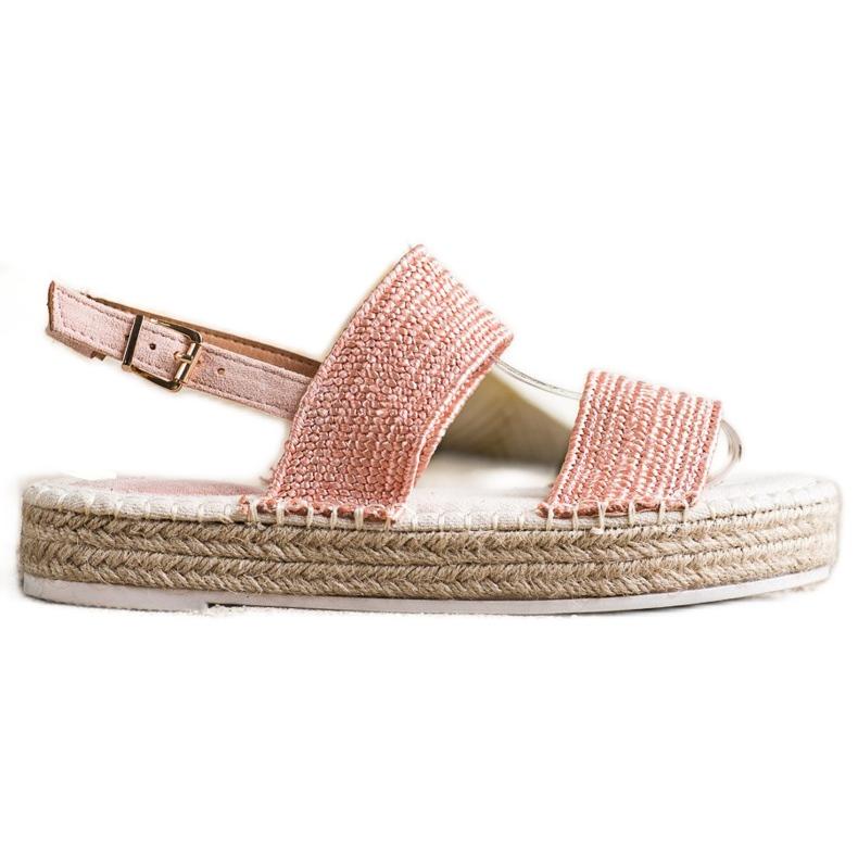SHELOVET Plecione Sandały Na Platformie różowe