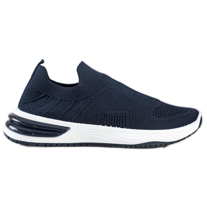 SHELOVET Wsuwane Ażurowe Sneakersy granatowe niebieskie