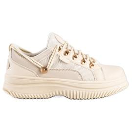 SHELOVET Beżowe Sneakersy Na Platformie beżowy