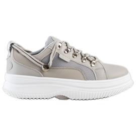 SHELOVET Szare Sneakersy Na Platformie beżowy