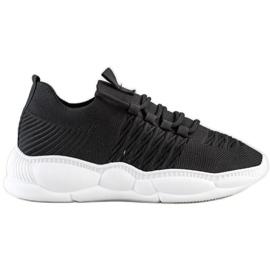 SHELOVET Klasyczne Tekstylne Sneakersy czarne