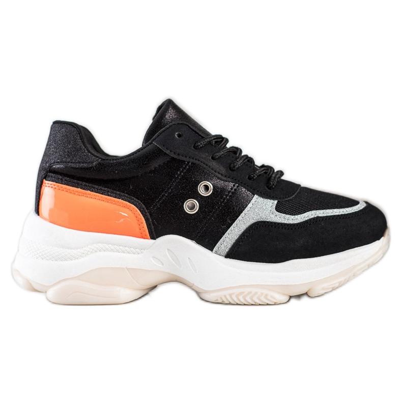 SHELOVET Komfortowe Modne Sneakersy czarne pomarańczowe srebrny