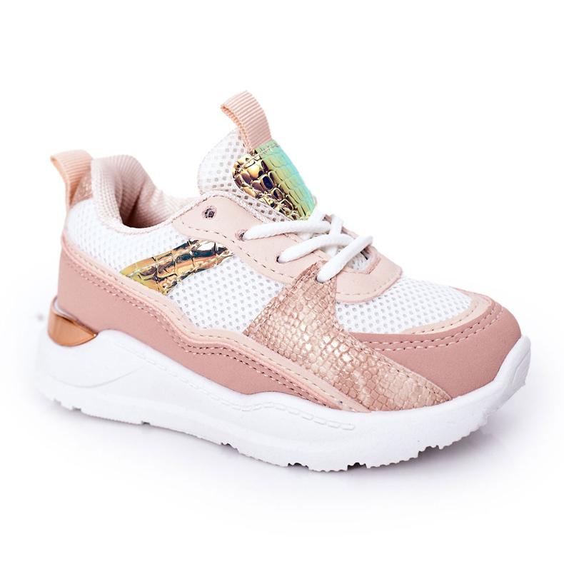 Dziecięce Sportowe Buty Sneakersy Różowe Game Time białe