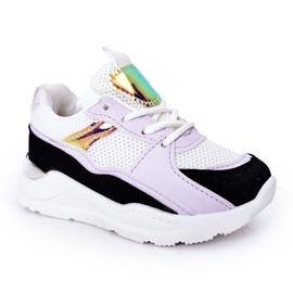 Dziecięce Sportowe Buty Sneakersy Czarno-Fioletowe Game Time białe czarne