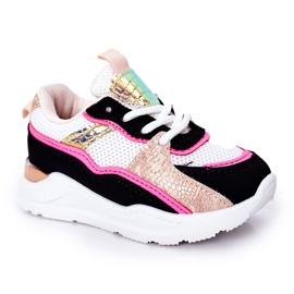 Dziecięce Sportowe Buty Sneakersy Neonowy Róż Game Time białe czarne różowe