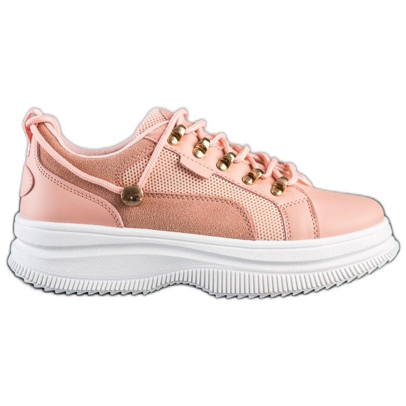 SHELOVET Różowe Sneakersy Na Platformie
