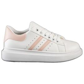 SHELOVET Klasyczne Sneakersy Z Paskami białe